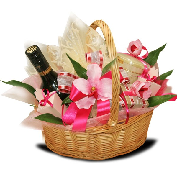 Фото подарочных корзин с цветами 140