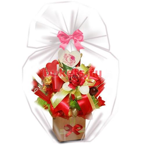 Сирени валентинки на букет лилия