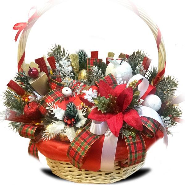 Новогодние корзинки своими руками из конфет